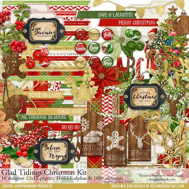 Glad Tidings Christmas Scrapbooking Kit available for instant download #designerdigitals