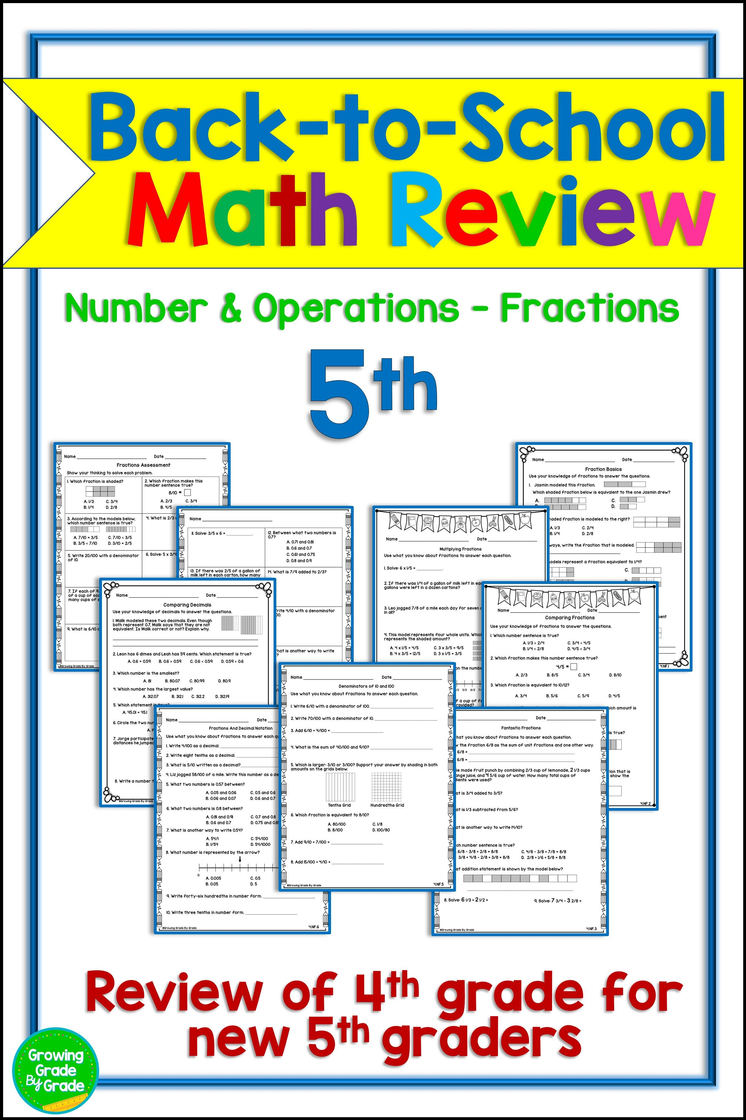 Back To School Math Activities 5th Grade 4