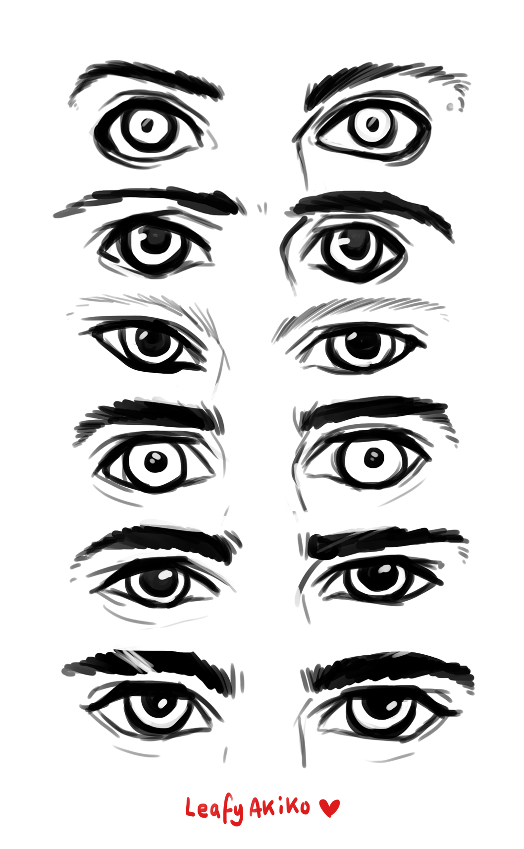 Eye reference references practice by leafyakiko eyes anime manga realistic mix hybrid