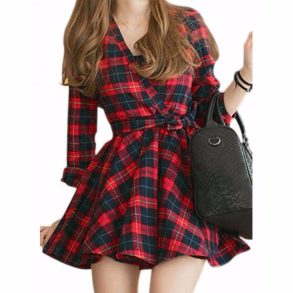 Woman red flannel outfits  Sexy Red Black Plaid Women Mini Dress  Mini dresses Plaid and Products