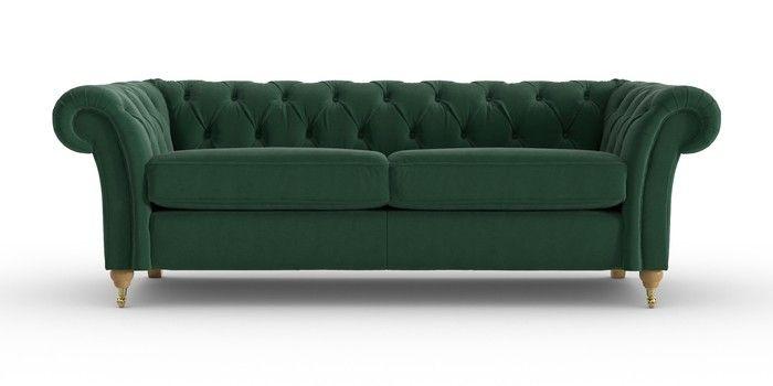 Buy Gosford Tailored Comfort Large Sofa 3 Seats Plush Velvet Bottle Green Castor Light From The Next Uk Online Shop Trong 2020