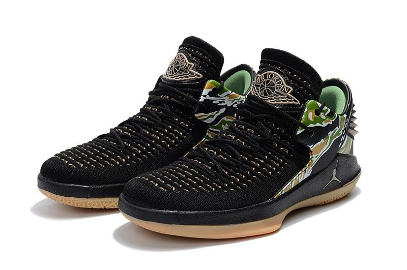 "aa00e8a705451a 2018 Air Jordan 32 Low ""Tiger Camo"" Black Metallic Gold-White Shoes ..."