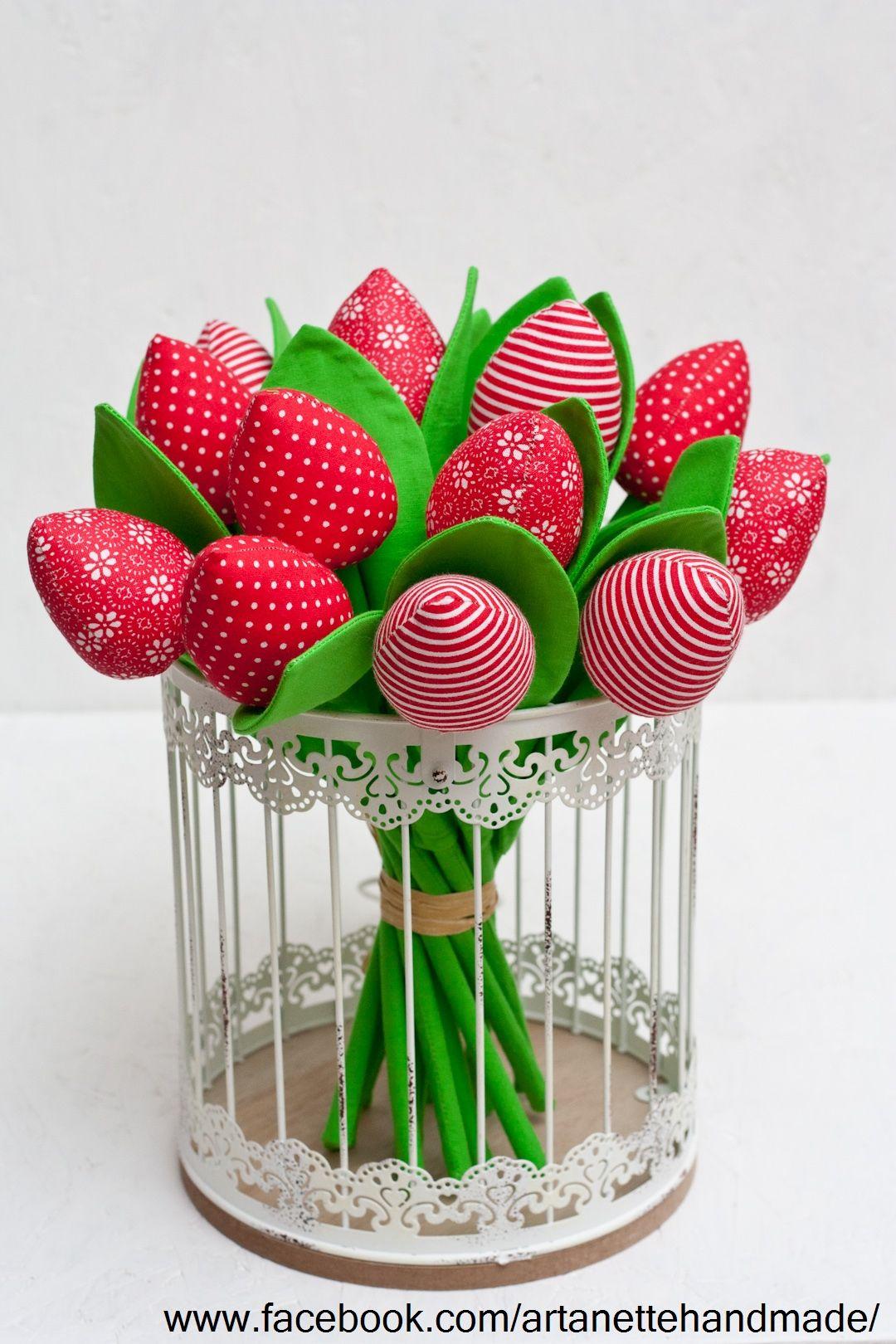 Tulipany Tulipany Z Materialu Kwiaty Z Materialu Bukiet Tulipanow Fabric Flowers Handmade Embroidery Designs Diy And Crafts Crafts
