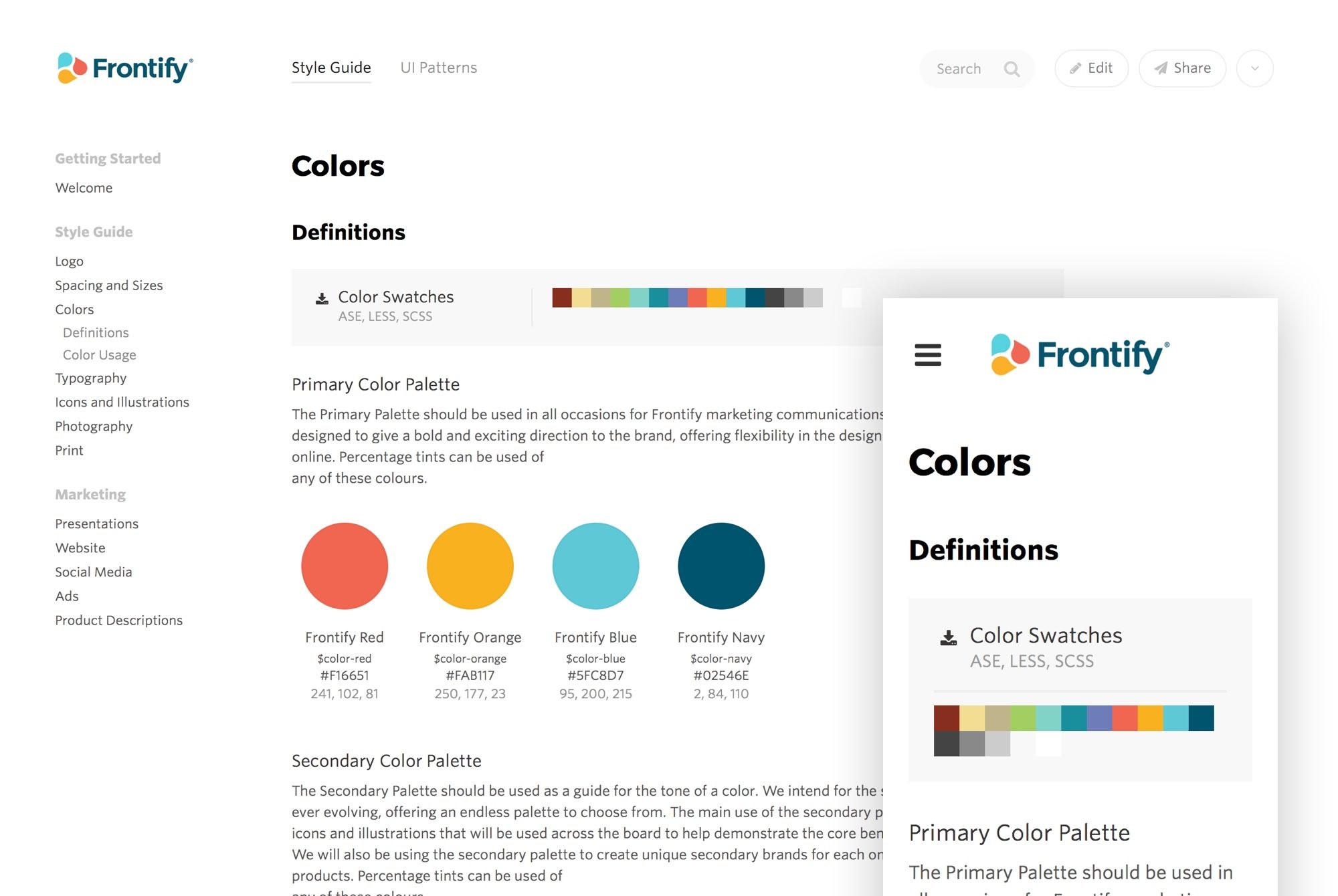 Frontify Brand Guidelines Design Collaboration Software Style Guide Design Brand Guidelines Template Style Guides