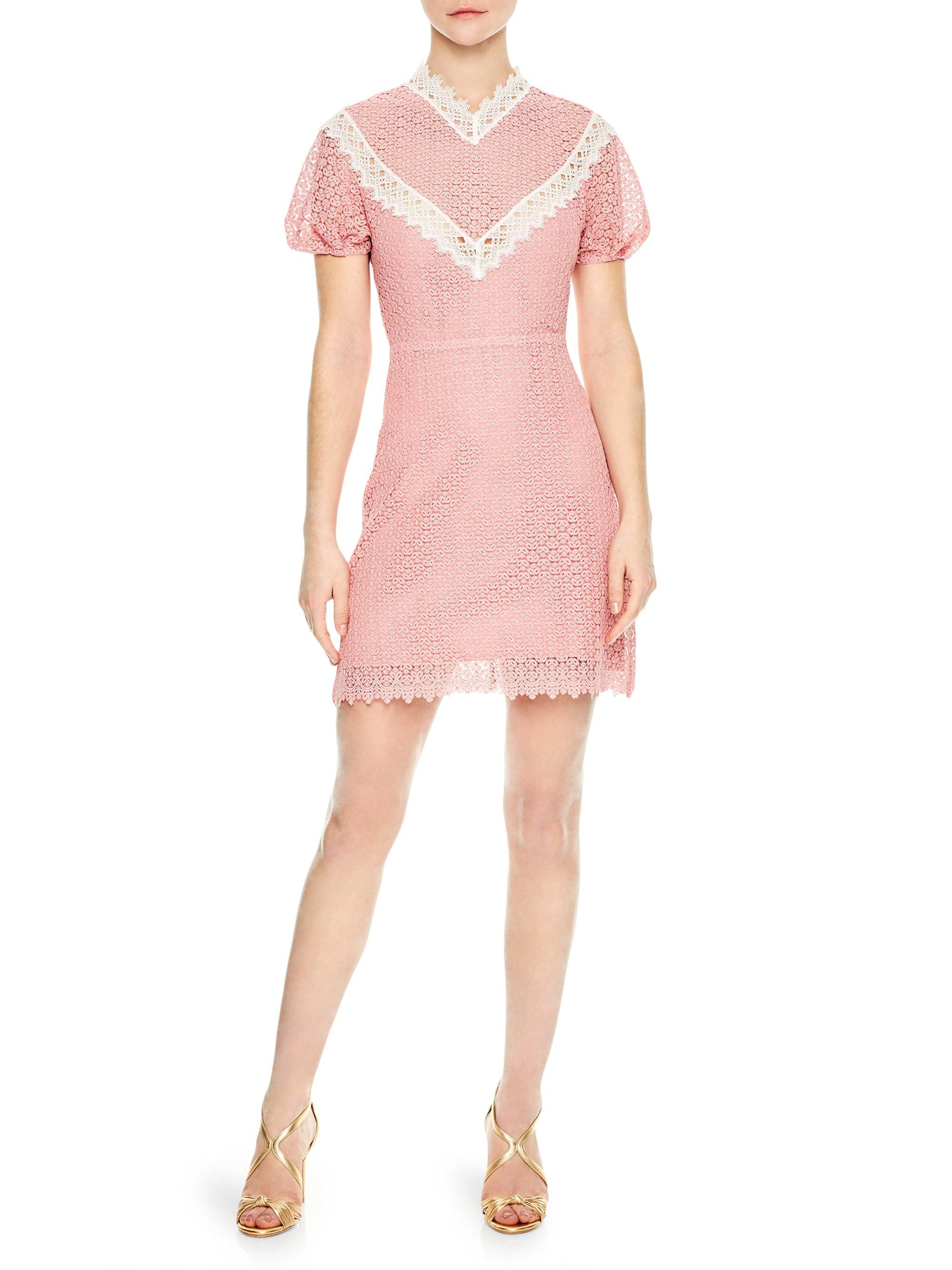 50b07693a8b Sandro Gavin Lace Sheath Dress - Peony 40 (8)