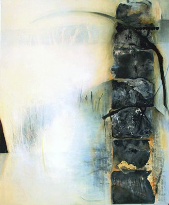 "Chiyomi Taneike Longo / ""White Passage no.79"", charcoal/acrylic/oil/cold wax on canvas"