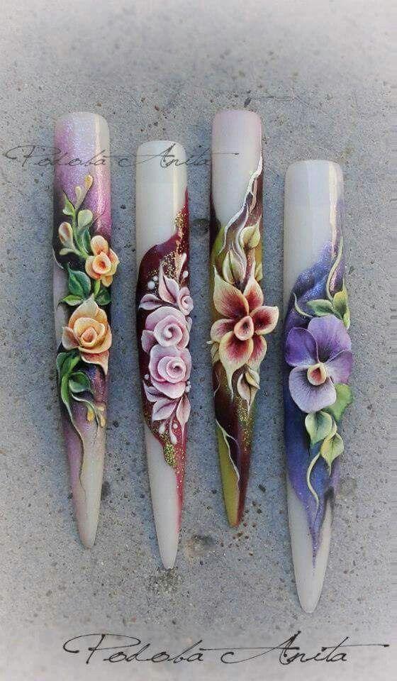 Nail art 3D flowers | Dự án cần thử | Pinterest | Nail art 3d, Art ...