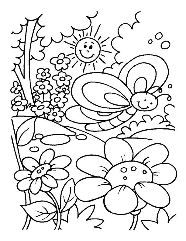 Spring Coloring Page 2 Free Printable Spring Coloring Page 2 Kindergarten Coloring Pages Spring Coloring Sheets Summer Coloring Pages