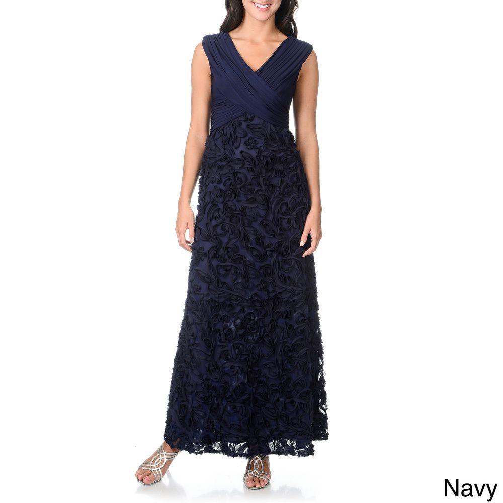 Patra Womens Criss Cross Soutache Navy Evening Gown Overstock