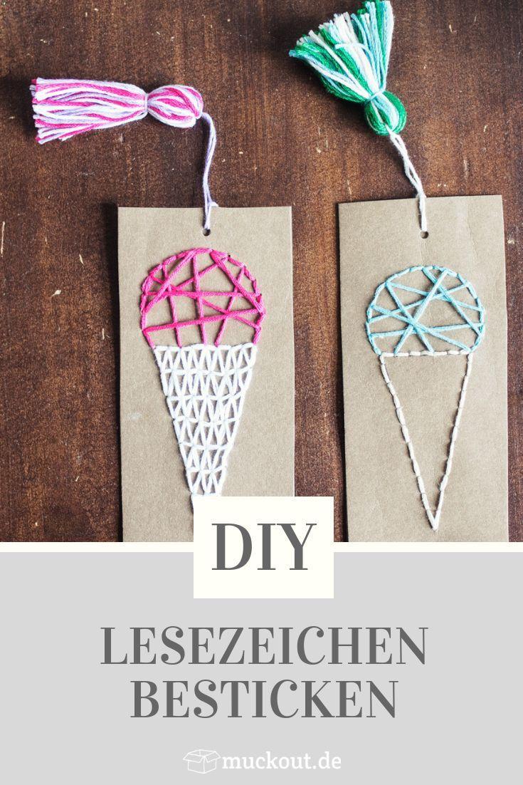 DIY: Besticktes Lesezeichen selbermachen mit Bastelvorlage