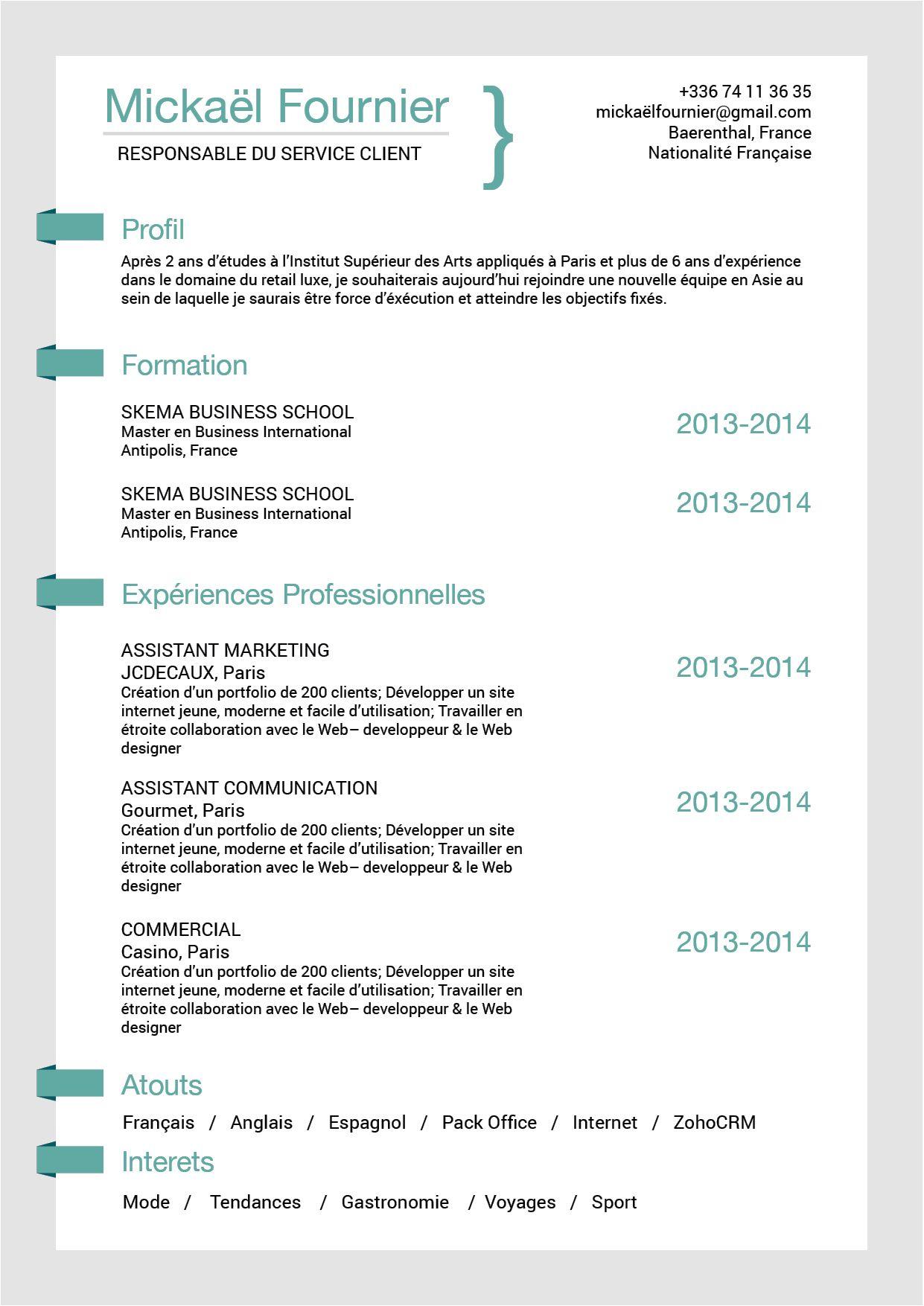 Ruse Format Simple Efficicace Modele Cv Exemple De Lettre De Motivation Exemple De Lettre