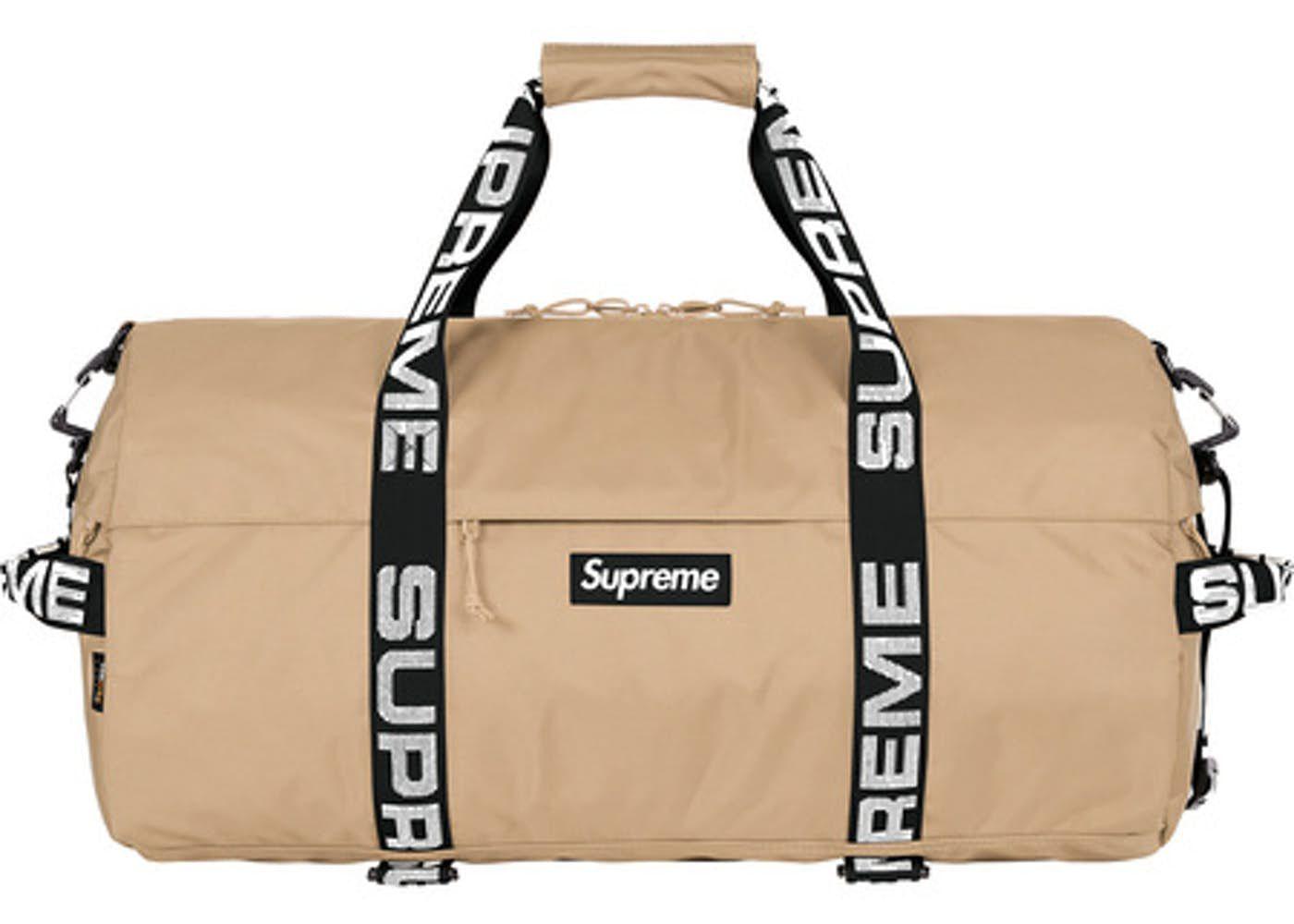 bd0c54f1ed Supreme Duffle Bag (SS18) Tan | fashion | Bags, Travel bags, Luggage ...