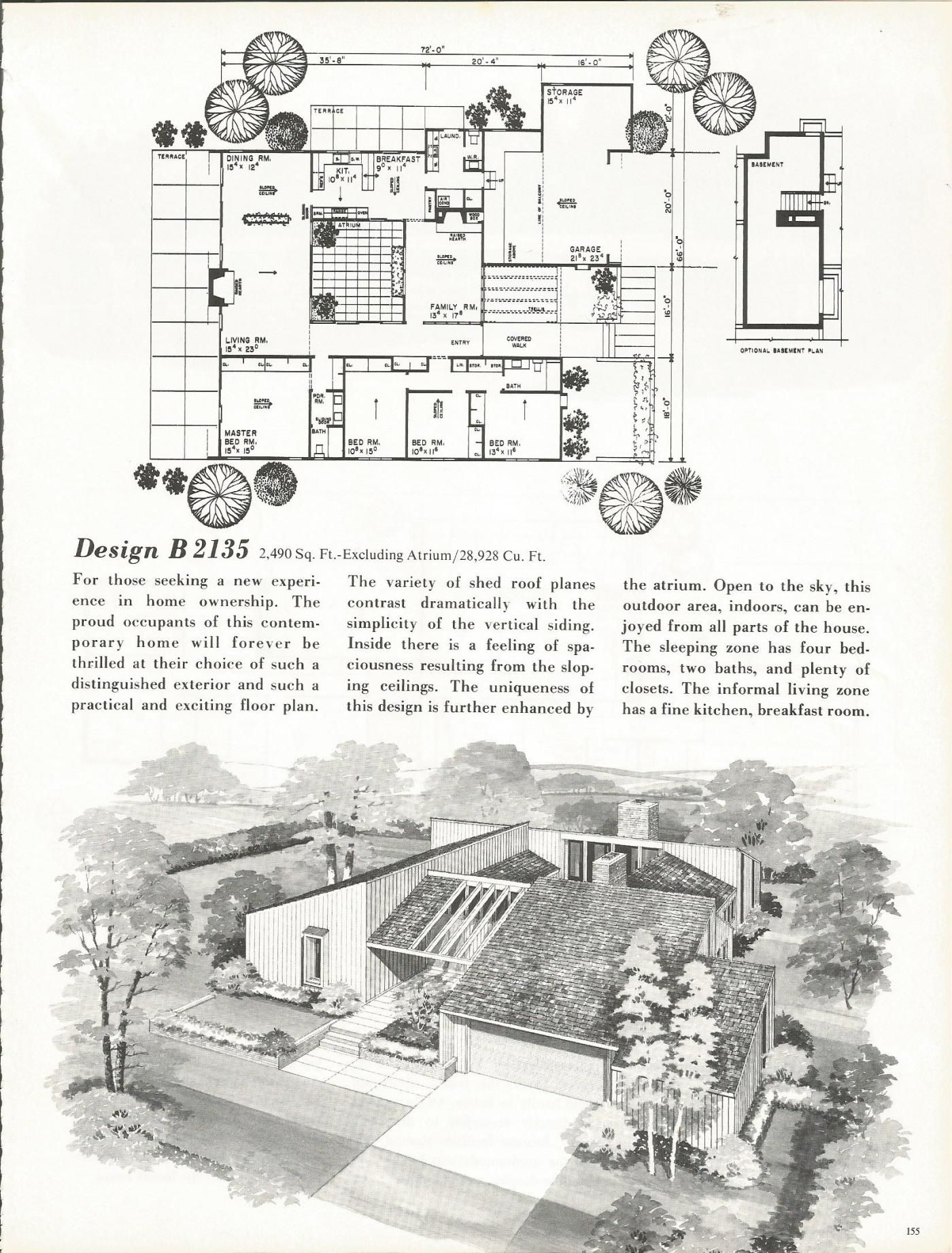 Vintage House Plans Mid Century Homes 1960s Homes Courtyard House Plans Vintage House Mid Century House