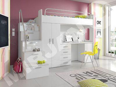 details zu hochbett etagenbett multimo 4s kinderbett mit schreibtisch und schrank 7 farben. Black Bedroom Furniture Sets. Home Design Ideas