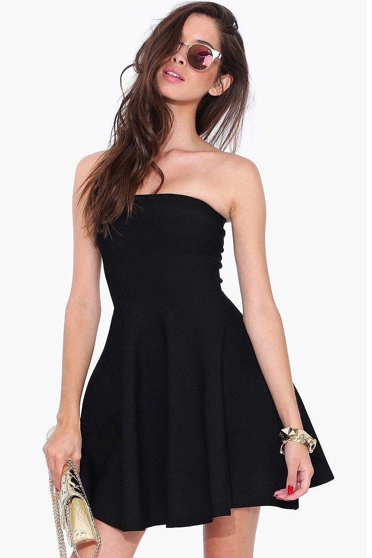 Withchic Black Strapless Pleated Short Skater Dress Ladies Mini Dresses Black Strapless Dress Short Skater Dress [ 1112 x 741 Pixel ]