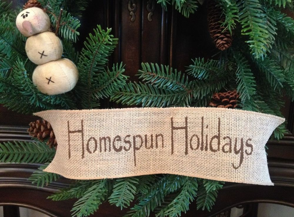 Primitive Easter Burlap Ribbon Banner Homespun Holidays Ornament Garland New MD