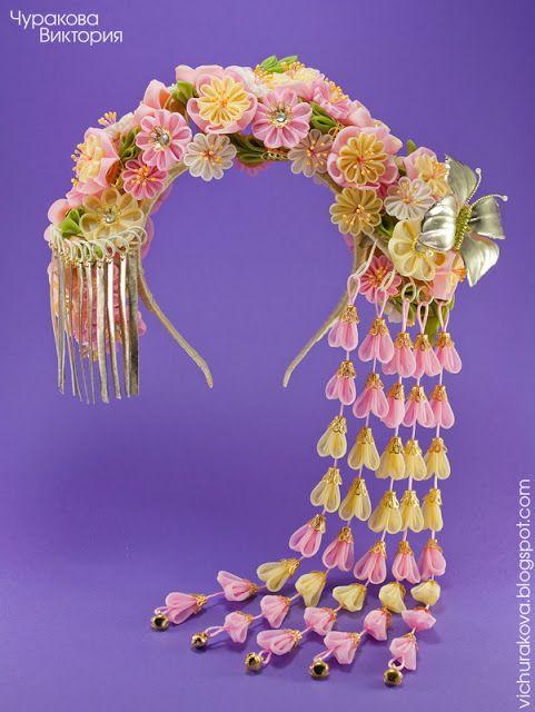 Ободок для волос с цветами из ткани в технике канзаши b5f3fbf2f7599