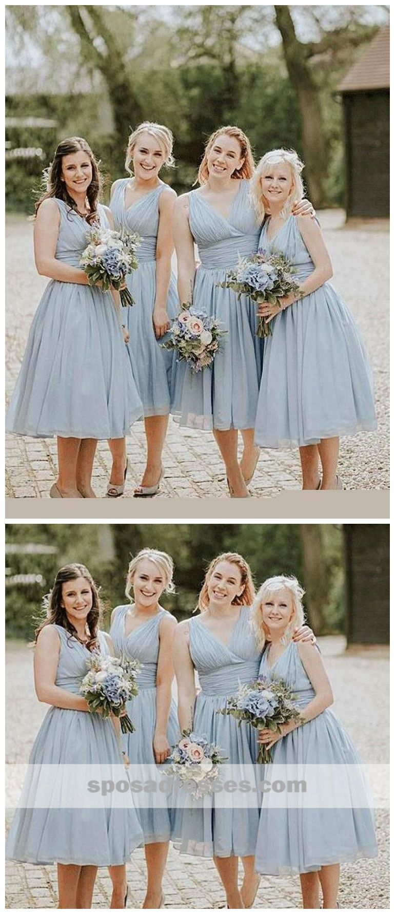 Dusty Blue V Neck Chiffon Short Cheap Bridesmaid Dresses Online Wg346 B Dusty Blue Bridesmaid Dresses Blue Bridesmaid Dresses Short Short Bridesmaid Dresses