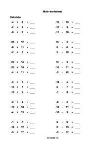 11+ Latest positive and negative integers worksheet ideas
