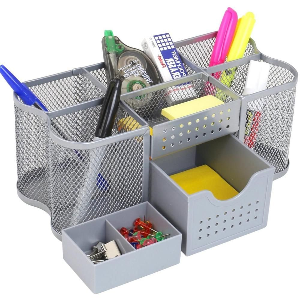 Small Storage Cup Container Home Office Organizer Desk Supplies Tool Mesh  Oval