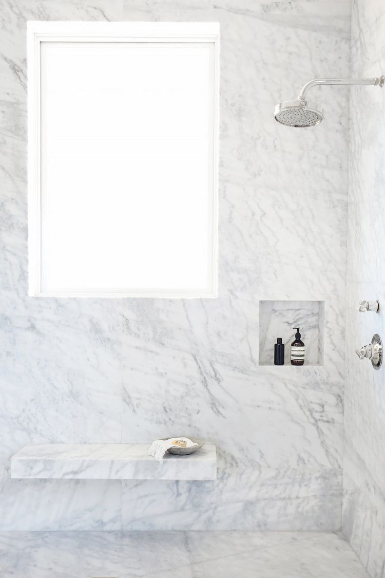 Bath under window ideas  gorgeous all marble bath with bench and large window  my bathroom