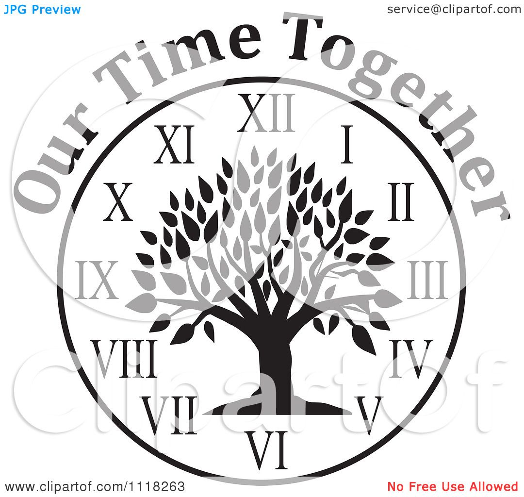 Cartoon of a black and white family reunion tree clock with our cartoon of a black and white family reunion tree clock with our time together text royalty free vector clipart by johnny sajem thecheapjerseys Images