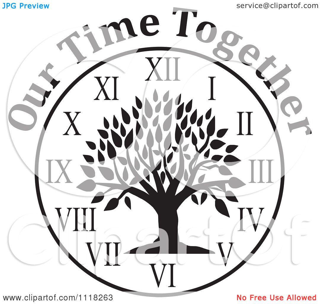 Cartoon Of A Black And White Family Reunion Tree Clock
