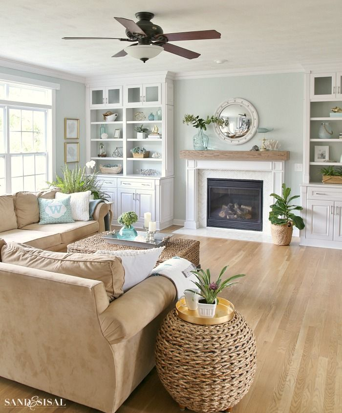 Coastal Family Room and Fireplace Makeover Coastal, Living rooms