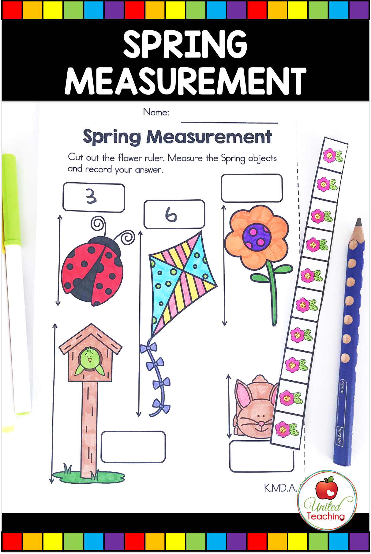 Spring Math And Literacy Activities Kindergarten United Teaching Spring Math Activities Math Measurement Activities Spring Math [ 1812 x 1212 Pixel ]