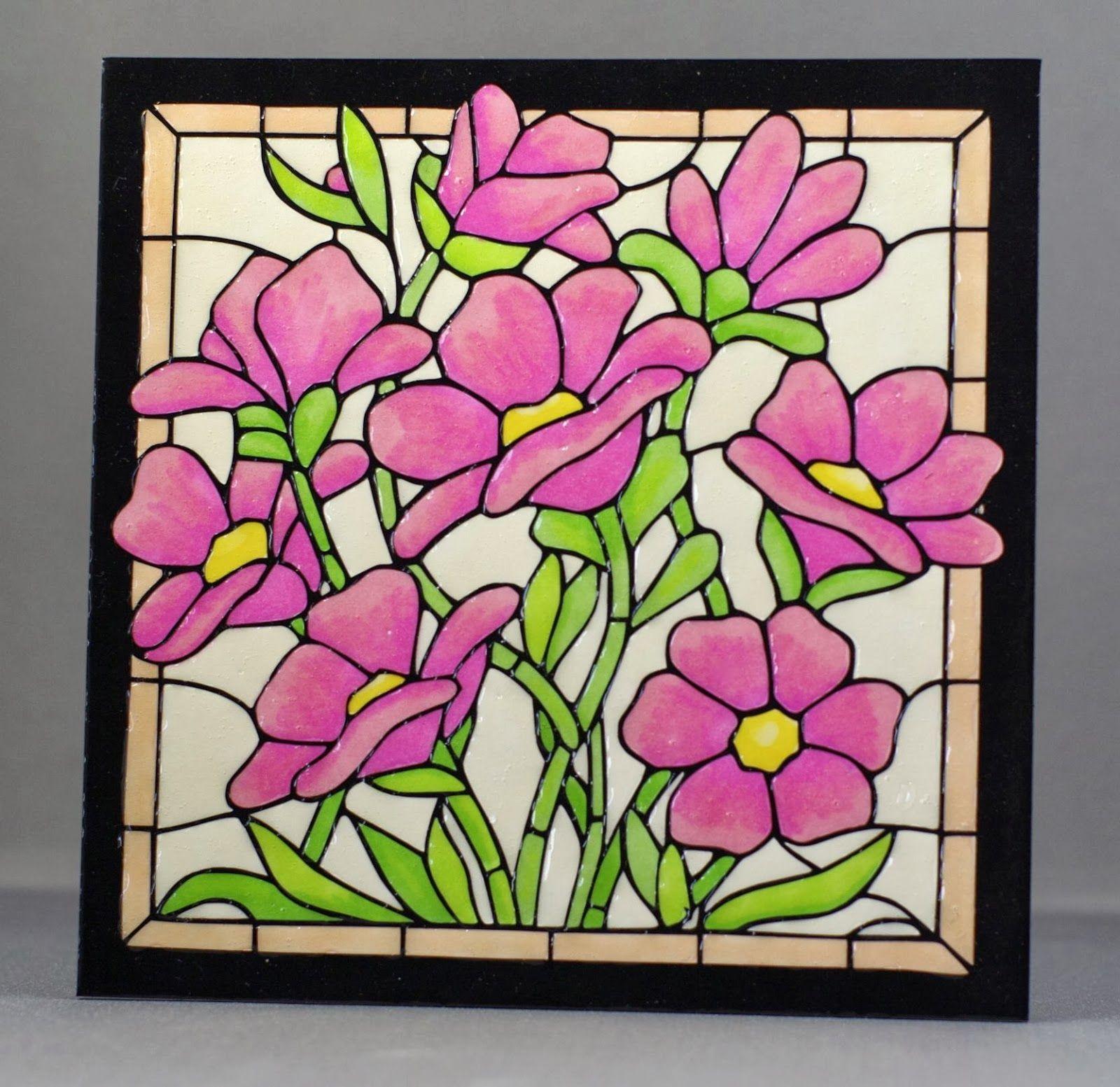 Glass Painting Outline Glass Painting Outline Designs Of Flowers