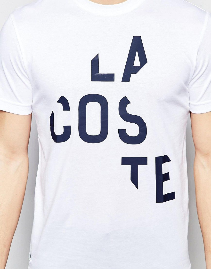b3c74da2 Image 3 of Lacoste T-Shirt with Broken Logo Print in White Regular Fit