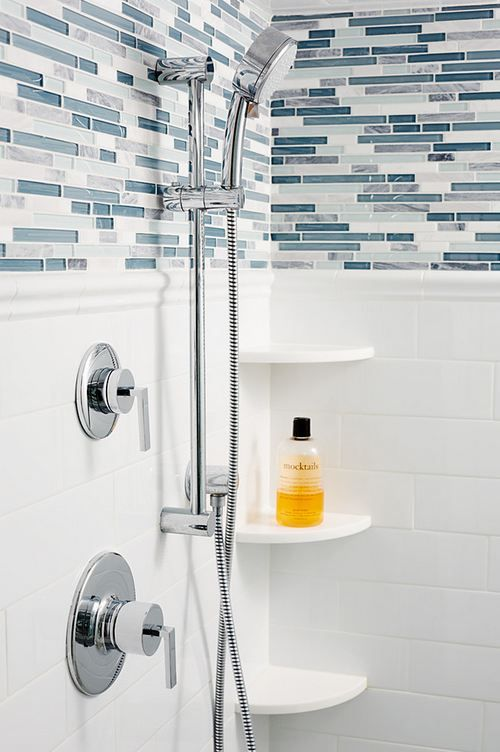 Bliss Waterfall Linear With White Subway Tile 3 X 6