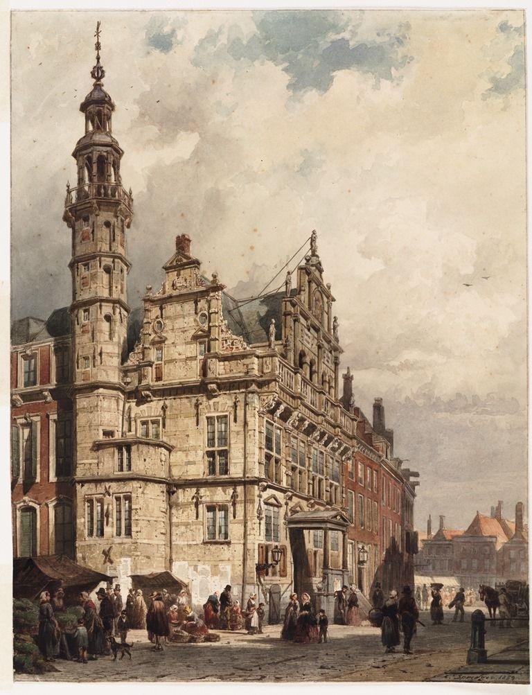 Cornelis Springer (1817-1891) Het stadhuis van Den Haag, 1859 Aquarel, 42 x 32,2 cm. Teylers Museum, Haarlem