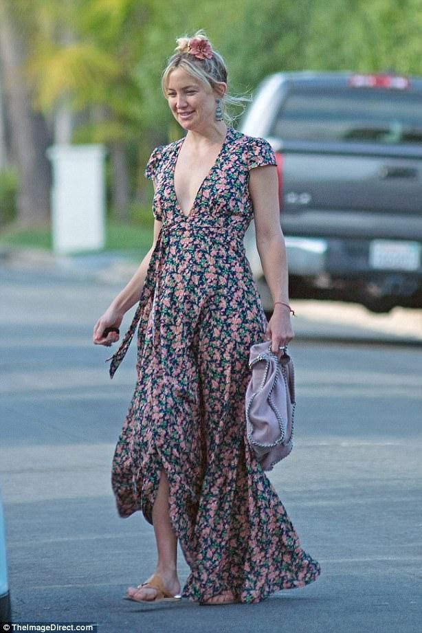 d63f0595213 Kate Hudson wearing Stella McCartney Falabella Tote in Rose Ash and Endless  Summer Lindsay Wrap Dress in Floral