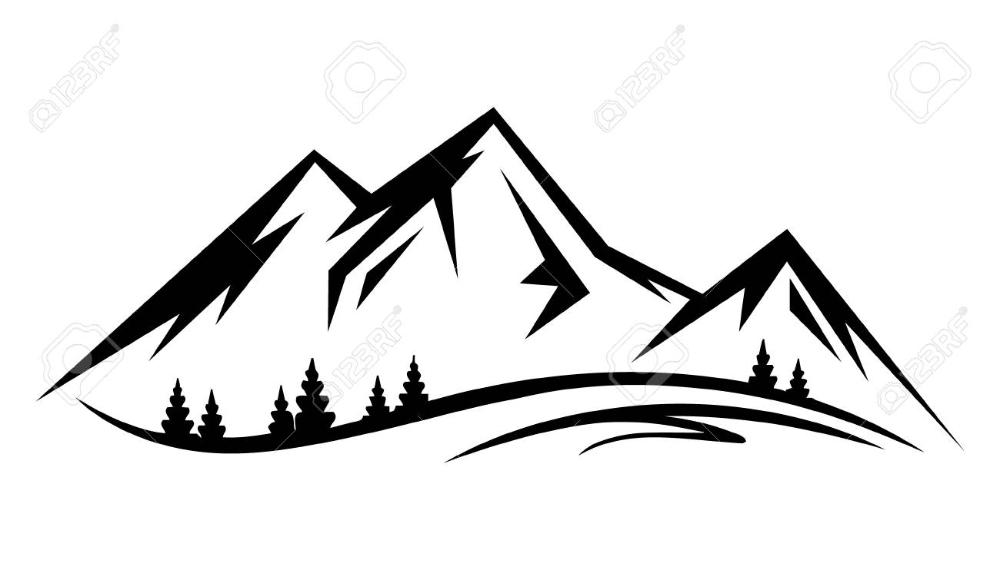 Abstract Vector Landscape Nature Or Outdoor Mountain View Silhouette Mountain Drawing Mountain Silhouette Silhouette Vector