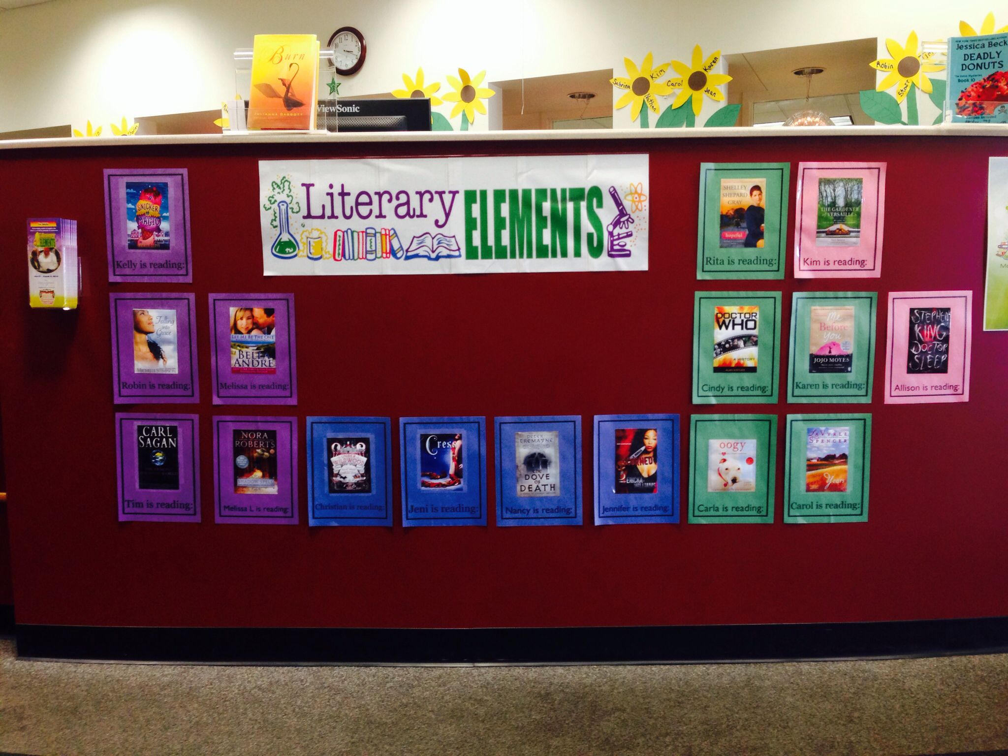 Literary Elements A Summer Reading Club For Adults Each Element Displays The Book Cover Of What Staff A Library Displays Book Display High School Library