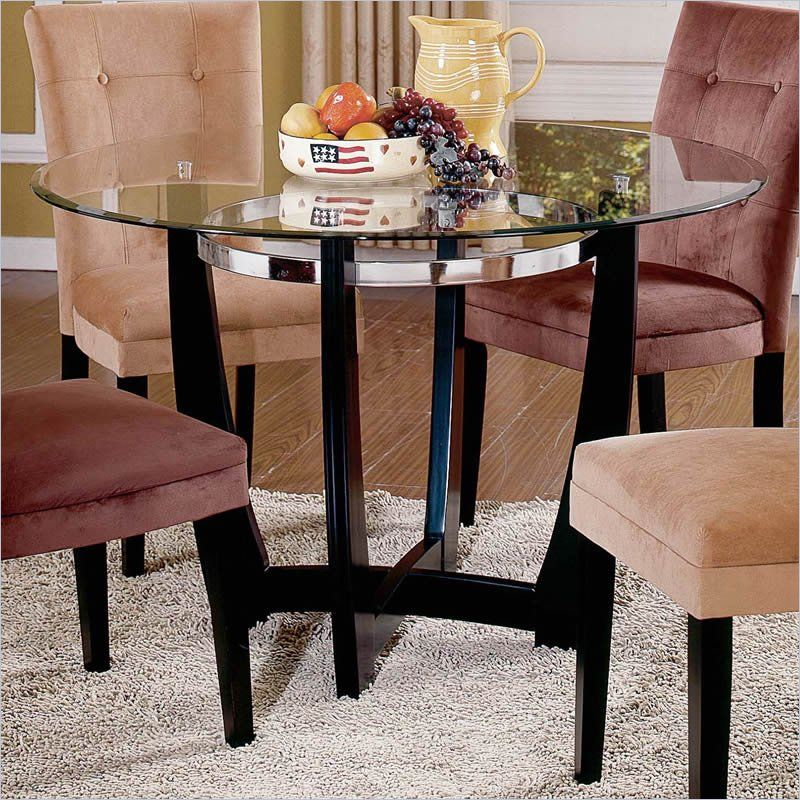 Steve Silver Company Matinee 48 Inch Round Glass Dining Table In Classy Steve Silver Dining Room Set Design Ideas