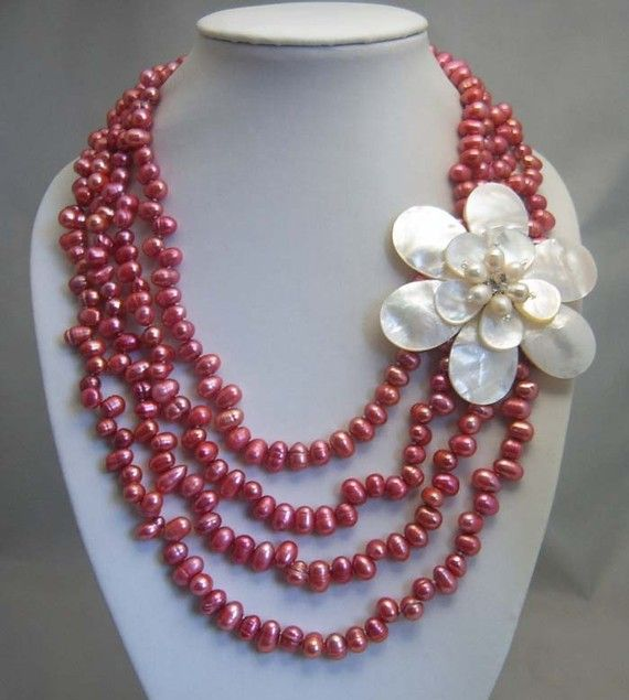bridesmaid gift Bead NecklaceBeaded JewelryPearl by audreyjewelry, $39.50