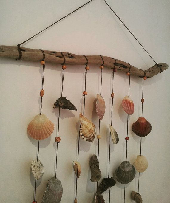 Unique Beaded Periwinkle Seashell Coloring Page: Large Seashell, Driftwood And Bead Wall Hanging, Wind