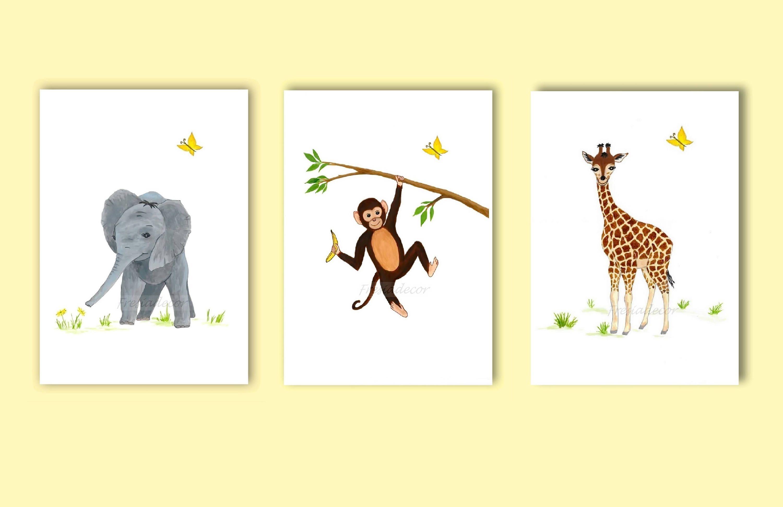 Set of 3 Safari Animal Nursery Prints; Elephant, Giraffe, Monkey ...