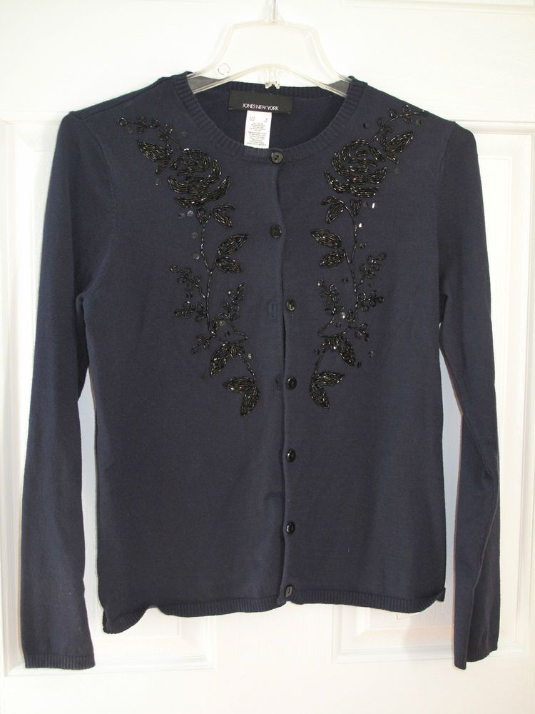 Beaded Cardigan Navy blue lightweight Jones NY small #JonesNewYork ...
