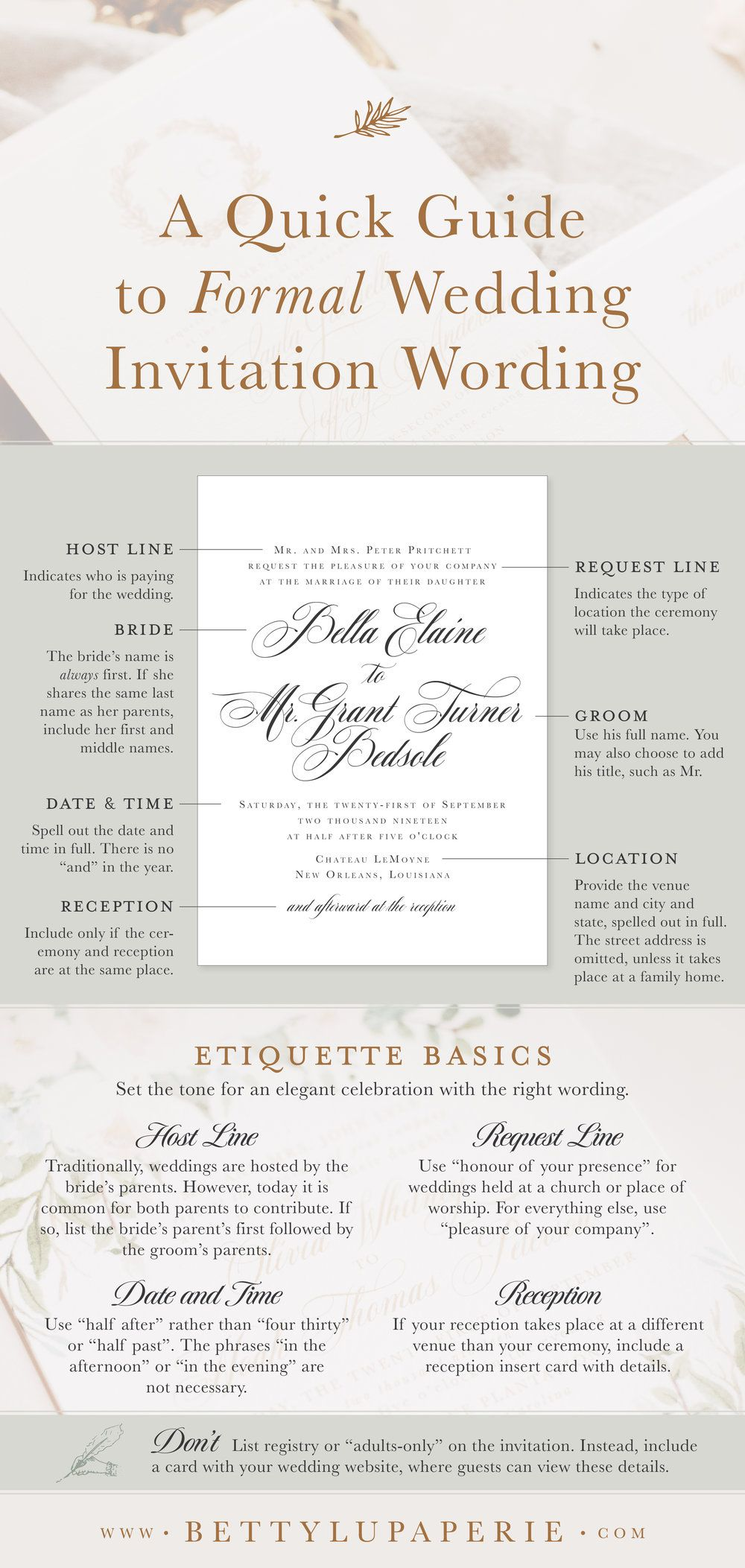 Formal Wedding Invitation Wording Ideas Tips
