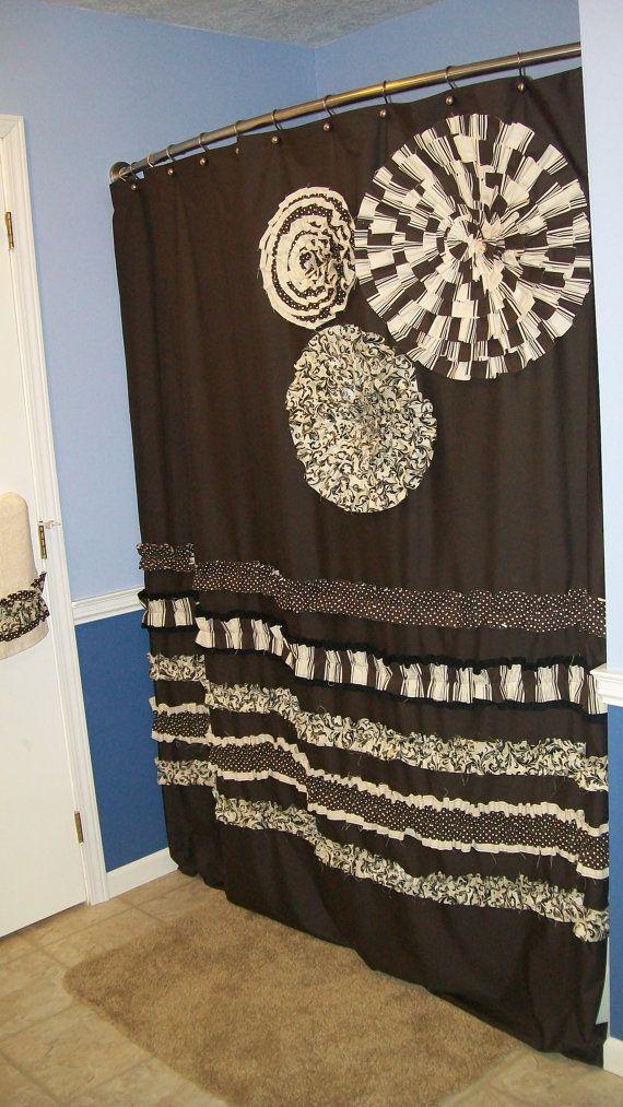 cream and brown shower curtain. Shower Curtain Custom Made Designer Fabric Ruffles and Flowers Neutral  Chocolate Brown Tan Cream