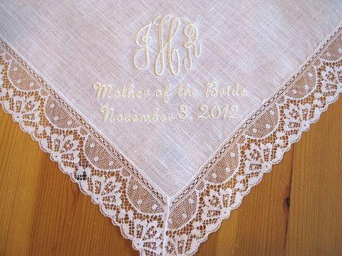 063f28b911f White Irish Linen Lace Handkerchief with 3-Initial Monogram
