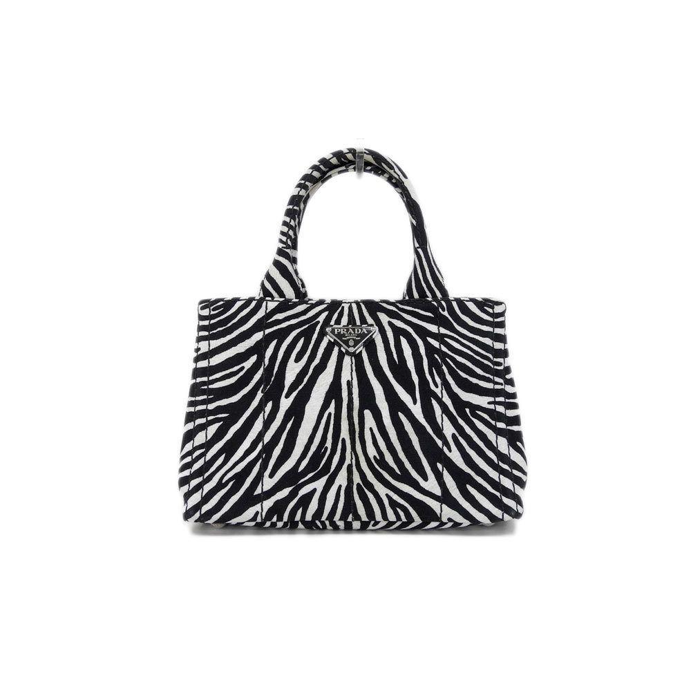 42dd1b2f05ff Prada Canapa Canvas 2way Tote Bag Shoulder Zebra Pattern 1 BG 439 Leather   prada