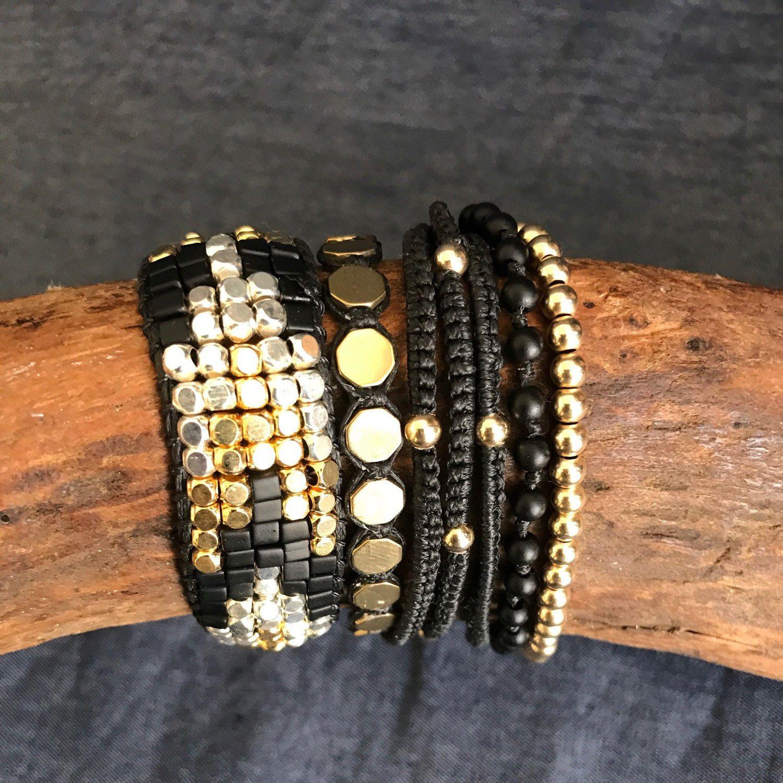 Black bracelet silver bracelet gold bracelet festival bracelet