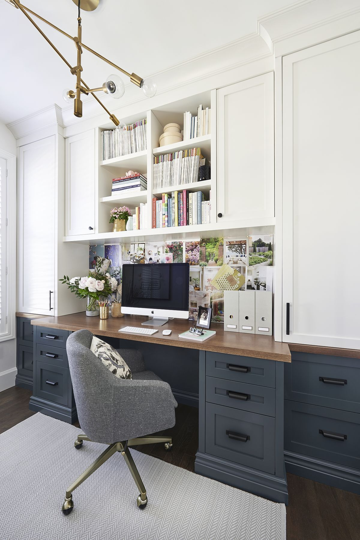 Pretty Sure This Is My Dream Office Love The Dark Blue Gray Lower Desk Cabinets Wood Top And White Home Office Space Home Office Decor Home Office Furniture