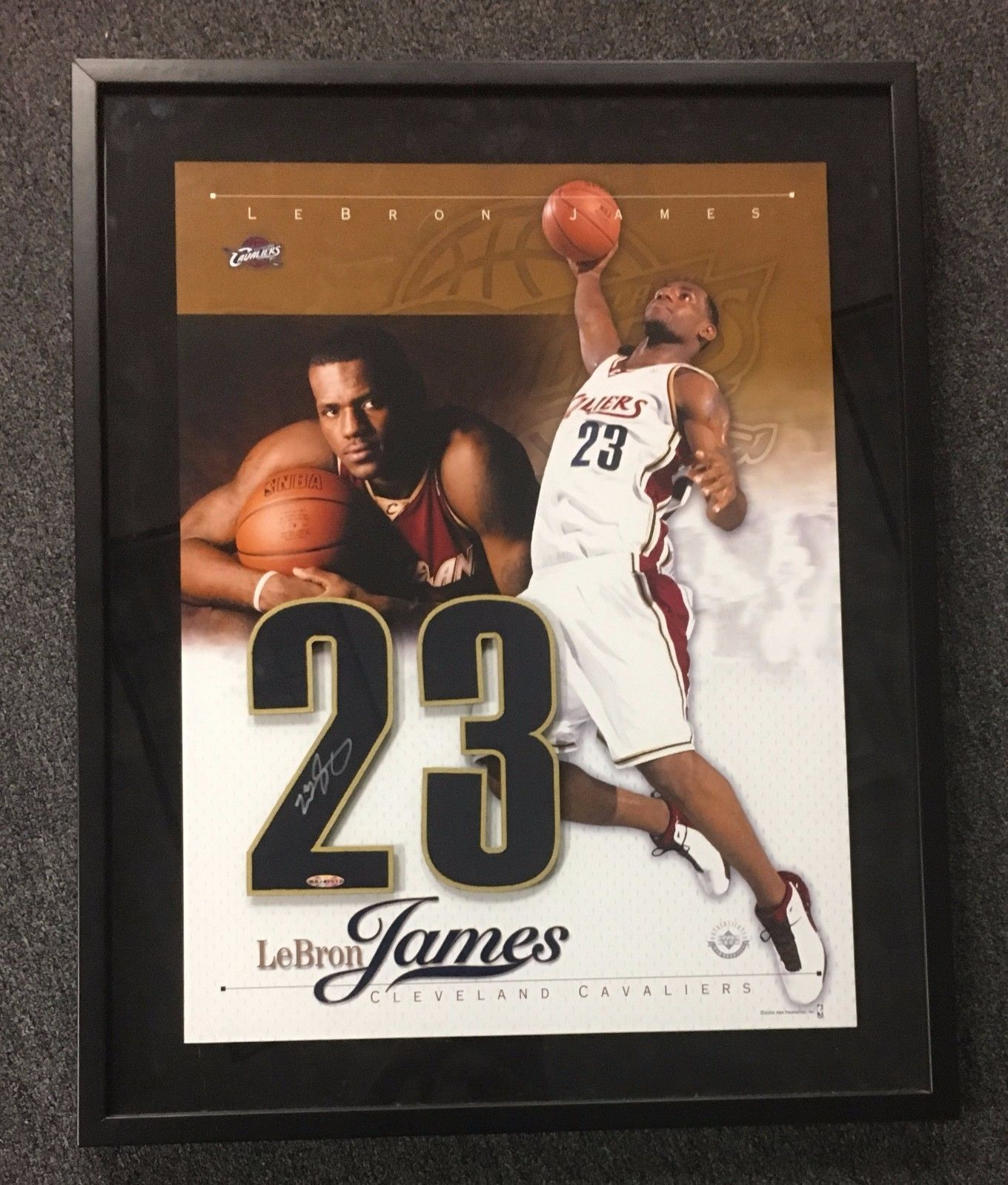 08512aaa0  SportsMemorbilia LeBron James Signed 23x29 Framed  23 Autograph Display  AUTO UDA Hologram ONLY  Collectibles