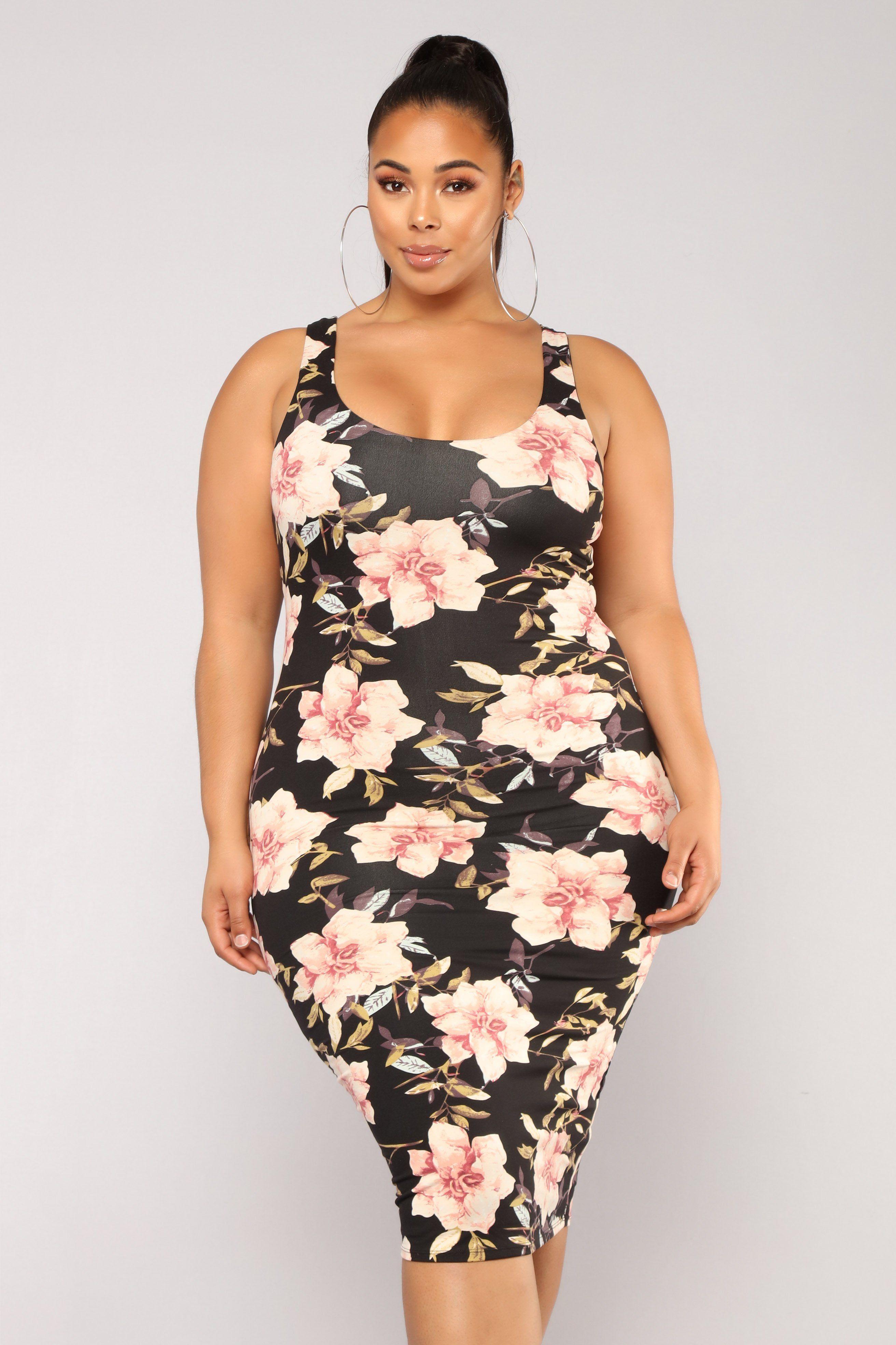 Need More Flowers Dress Black Plus Size Black Dresses Plus Size Outfits Fashion
