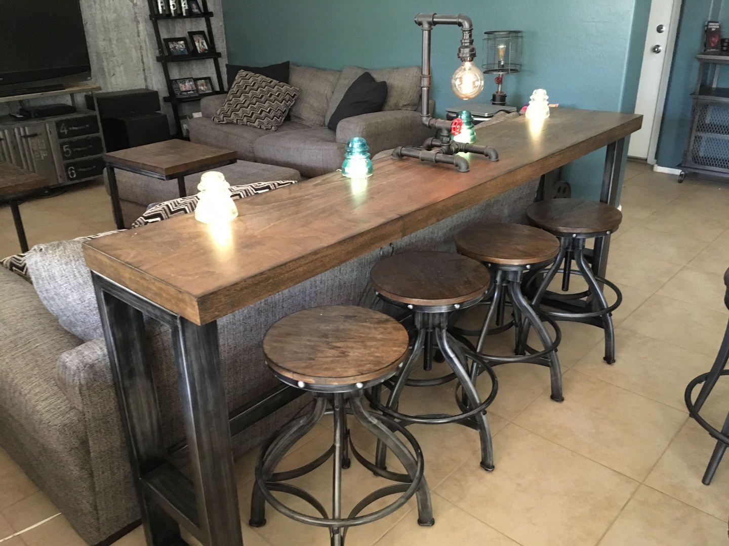 Chandler Sofa Bar Table In 2020 Bar Table Behind Couch Diy Sofa
